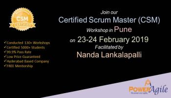 Certified Scrum Master Training Certification In Pune By PowerAgile on  23-24 February 2019
