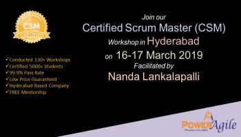 Certified Scrum Master Training Certification In Hyderabad By PowerAgile on  16-17 March 2019