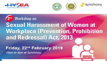 Workshop on Sexual Harassment of Women at Workplace - Prevention, Prohibition and Redressal Act 2013 - 22nd Feb 2019