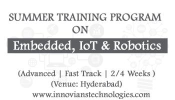 Summer Training on Embedded, IoT and Robotics at Hyderabad