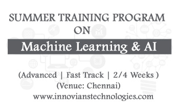 Summer Training on Machine Learning and AI at Chennai