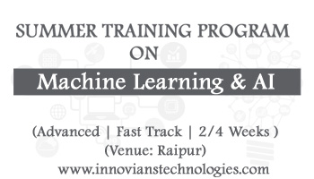 Summer Training on Machine Learning and AI at Raipur