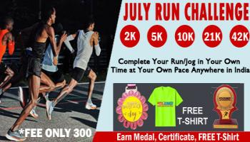 July Challenge- Run 2K 5K 10K 21K 42K All over India