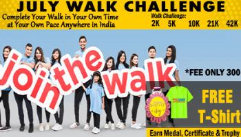 July Challenge- Walk 2K 5K 10K 21K 42K All over India