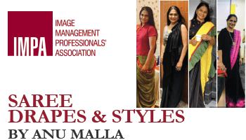 Saree drapes and styles by Anu Malla