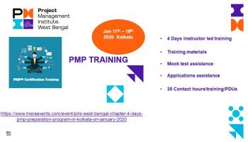 PMI West Bengal Chapter - 4 days PMP Preparation program in Kolkata on January 2020